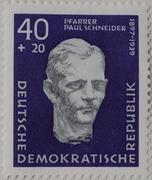 Paul Schneider a Protestant pastor portrait on a stamp GDR 1957 Stock Photos