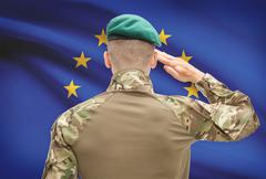 Soldier in hat facing national flag series - European Union - EU Stock Photos