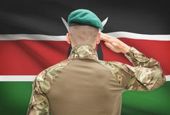 Soldier in hat facing national flag series - Kenya Stock Photos