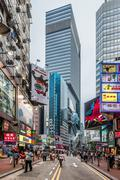 people walking shopping Causeway Bay Hong Kong - stock photo