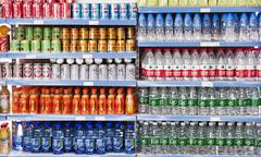 Drinks on the shelves of a store in China - stock photo