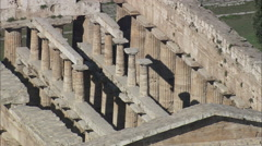 AERIAL Italy-Temple Of Poseidon Stock Footage
