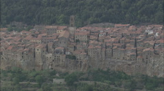 AERIAL Italy-Flight Over The Top Of Valentano Stock Footage
