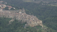 AERIAL Italy-Flight With Reveal Of Pitigliano Stock Footage