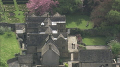 AERIAL United Kingdom-Eyam Hall Stock Footage