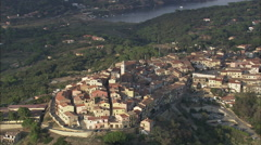 AERIAL Italy-Flight Along Coast To Capoliveri At Dusk Stock Footage