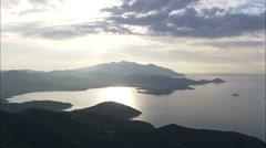 AERIAL Italy-Rio Marina And Rio Nell'Elba At Dusk Stock Footage