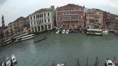 4K Time lapse pan shot fisheye Venice sunset Grand Canal Stock Footage