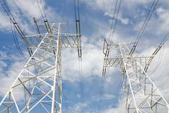 High-voltage transmission line Stock Photos