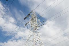 High-voltage transmission line Stock Photos