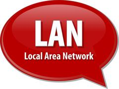 Stock Illustration of LAN acronym definition speech bubble illustration