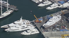 AERIAL Italy-Viareggio And Codecase Shipyard Stock Footage