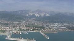 AERIAL Italy-Marina Di Carrara Stock Footage