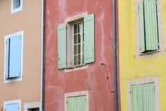 Colorful buildings Roussillon Vaucluse Provence Alpes Cote dAzur France Stock Photos
