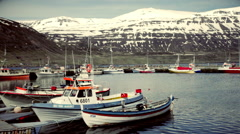 Boat on a mooring in Iceland Stock Footage