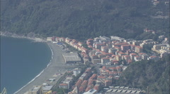 AERIAL Italy-Passing Over Riva Trigoso Stock Footage