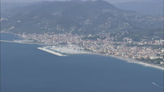 AERIAL Italy-Out To Sea Past Lavagna Stock Footage