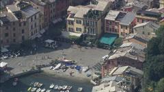 AERIAL Italy-Portofino Harbour Stock Footage