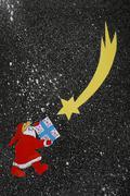 Santa Claus Christmas presents Star of Bethlehem illustration - stock illustration