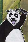 Laughing panda with spray can in hand mural street art Duisburg North Stock Photos