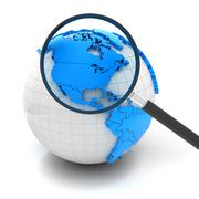 Globe with magnifying glass over north america and USA Stock Illustration