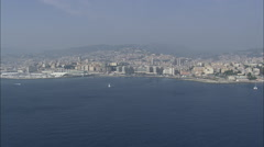 AERIAL Italy-Rising Over Genoa Stock Footage