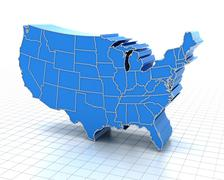 Extruded map of USA with state borders Stock Illustration