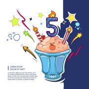 Sweet birthday cake Stock Illustration