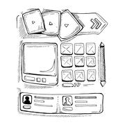 doodle portfolio wireframe - stock illustration