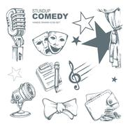 Standup comedy icons set Piirros