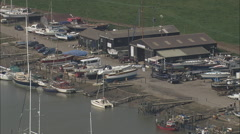 AERIAL United Kingdom-Southwold Harbour Stock Footage