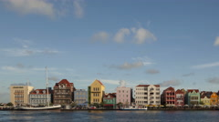 4K Time lapse pan shot Willemstad Curacao Waterfront Stock Footage