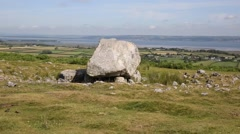 Arthurs Stone Cefn Bryn hill The Gower peninsula South Wales UK Stock Footage