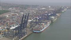 AERIAL United Kingdom-Felixstowe Container Port Stock Footage