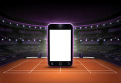Cell phone with empty screen placed on a clay court Stock Illustration