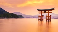 Stock Video Footage of Sunset Time-lapse of the Famous Shinto Gate of Miyajima