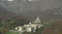 AERIAL Italy-Santuario Do Oropa Stock Footage