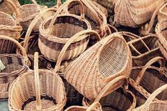 Plenty straw basket taken closeup. - stock photo