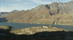 AERIAL France-Varisell Fort By Mont Cenis Lake Stock Footage