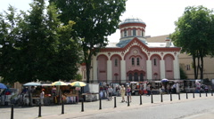 Market at the old town Vilnius Lithuania Stock Footage