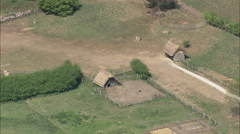 AERIAL United Kingdom-West Stow Anglo Saxon Village Stock Footage