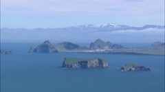 AERIAL Iceland-Westman Islands From The South Stock Footage