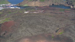AERIAL Iceland-Eldfell Volcano And Lava Flow Stock Footage