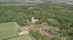 AERIAL United Kingdom-Heydon Village And Hall Stock Footage