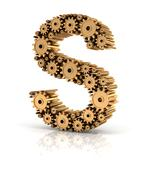 Alphabet S formed by gears - stock illustration