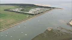 AERIAL United Kingdom-Wells And Harbour Stock Footage