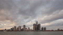 4K Time lapse Detroit Skyline sunset Stock Footage