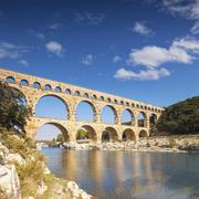 Pont du Gard 2000 year old Roman Aquaduct Vers Pont du Gard Stock Photos