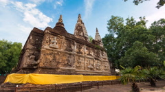 Hyper Time Lapse Wat Jed Yod Famous Temple Of Chiangmai, Thailand Stock Footage
