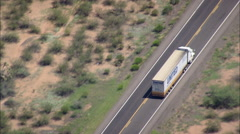 AERIAL United States-Flight Revealing Truck On Straight Section Of Route 93 Stock Footage